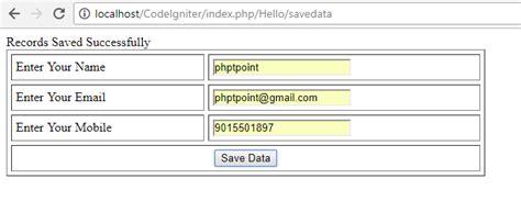 codeigniter tutorial point codeigniter insert data into database phptpoint