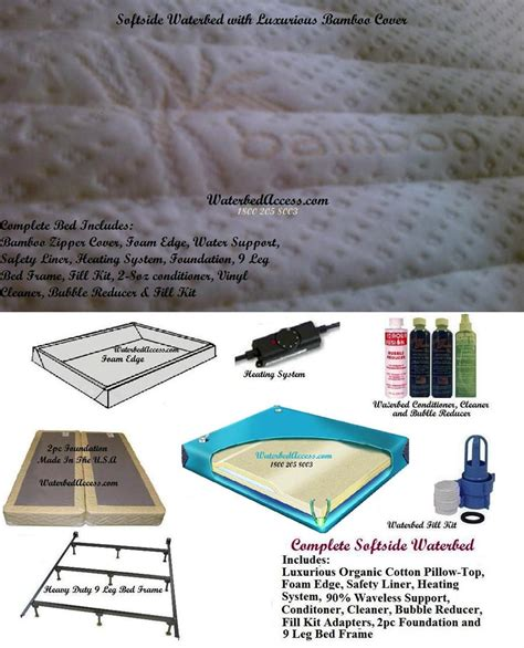 King Size Waterbed Bladder King Softside Waterbed W Bamboo Top Mattress 90 Waveless Support