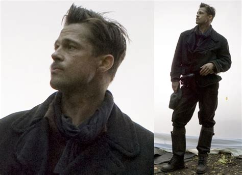brad pitt inglorious bastard haircut first photos of brad pitt on the set of tarantino s