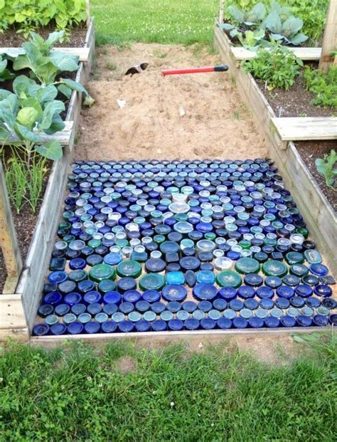 colored glass bottle bottom path   garden  process gardenbackyard ideas