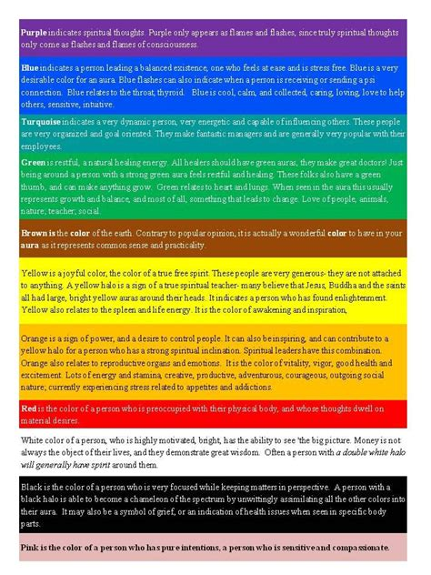 color meaninga aoura colors aura color meaning chart reiki chakras