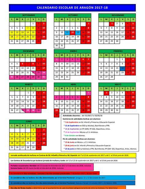 Calendario B Escolar Calendario Escolar De Arag 243 N En El Curso 2017 2018