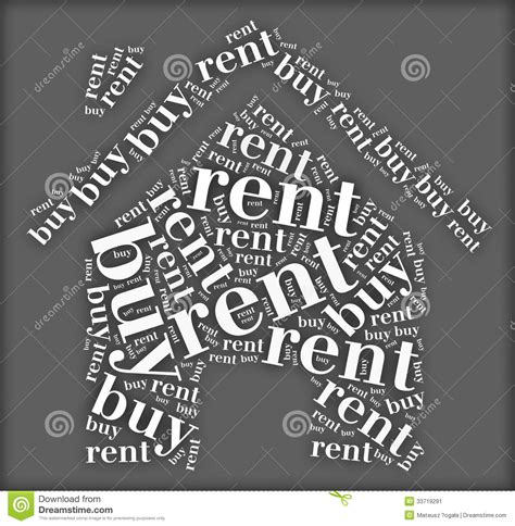 buy or rent house tag or word cloud buy or rent dilemma related in shape of house stock image image
