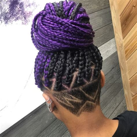 braid style with shaved back purple braids styles 35 gorgeous purple braids hairstyles