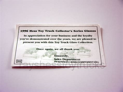 Glass Gift Card Box - 1996 insert card for hess gift box glass set hess toy trucks 2017 hess toy truck