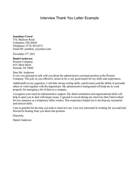 Resume Thank You Letter by Sle Thank You Letters Bestdamnresumes
