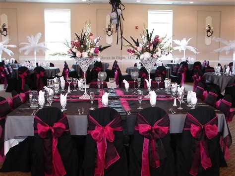 pink black and white wedding ideas for black hot pink