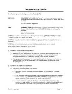 transfer agreement intercompanies template sle form