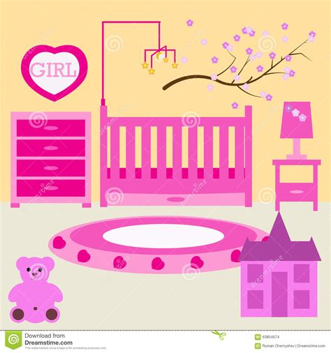 baby girl bedroom furniture child room for the newborn girl baby girl bedroom with furniture stock vector