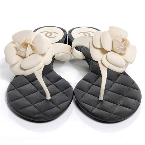 Chanel Flowers Slippers chanel jelly quilted camellia sandals 40 black white 53898