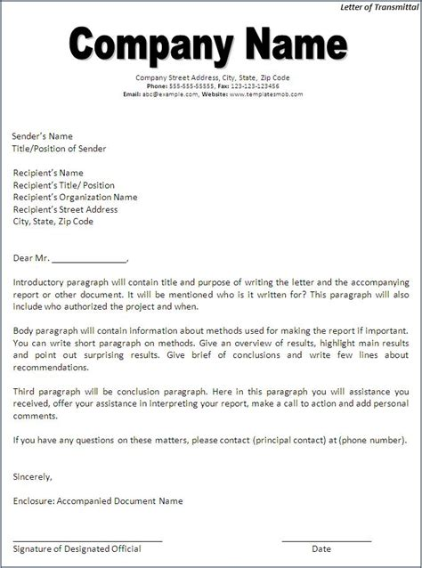 Transmittal Letter For A Business Letter Of Transmittal Template Word Excel Formats