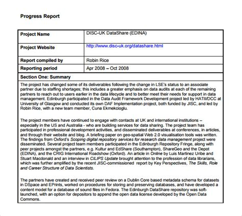 11 Sle Progress Reports Sle Templates Project Progress Report Template