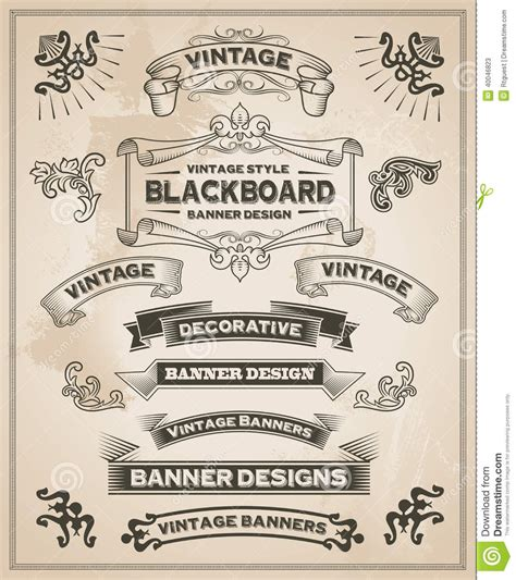 design banner retro vintage retro hand drawn banners stock vector image