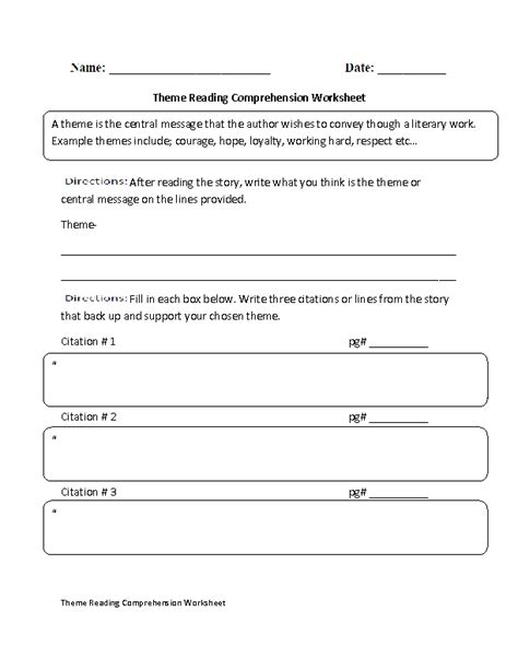 themes for reading comprehension englishlinx com reading comprehension worksheets