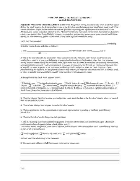 Free Virginia Small Estate Affidavit Form Pdf Eforms Free Fillable Forms Virginia Will Template