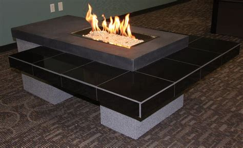 modern gas pit table outdoor fireplace