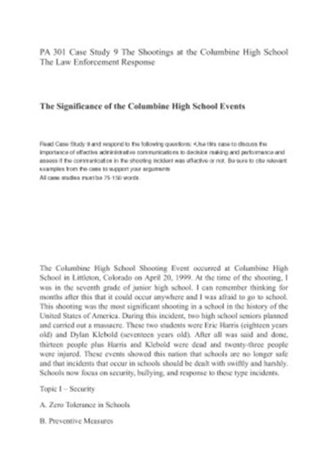 Pa 301 Case Study 9 The Shootings At The Columbine High School The Law Enforcement Response Enforcement Lesson Plan Template