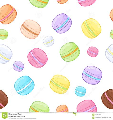 cute macaron pattern seamless assorted macarons pattern stock vector