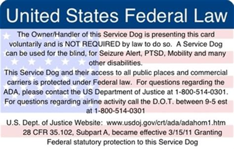 printable service dog id cards ada federal law information card service dog supplies