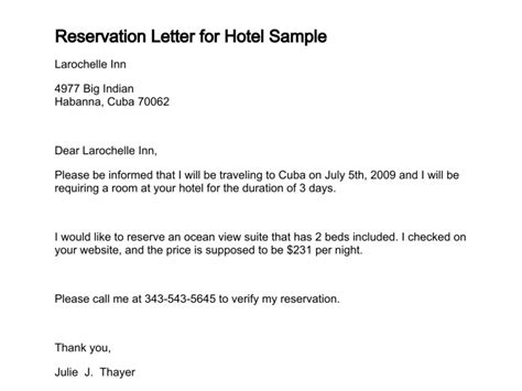 Inquiry Letter To Hotel Letter Of Reservation