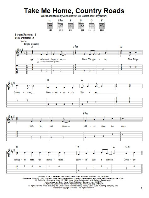 take me home country roads sheet direct