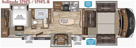 front living room 5th wheel floor plans grand design solitude 375fl fifth wheel front living
