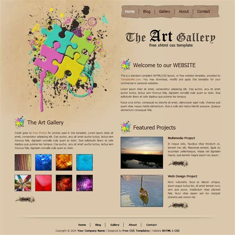 Art Gallery Template Html Gallery Template