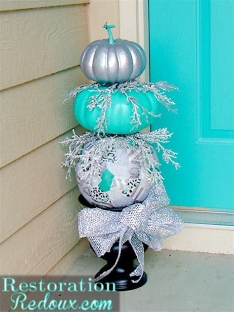 pumpkins decorated for christmas festive turquoise and silver pumpkin topiary