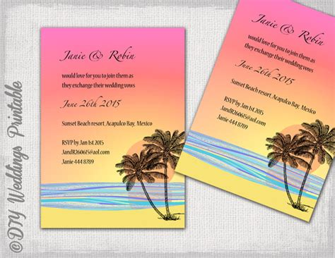 diy tropical beach wedding invitations template