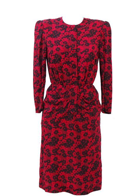 pattern peplum dress vintage 80 s knee length peplum dress with red black