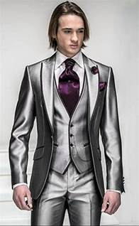 best color suit for slim fit silver grey satin groom tuxedos best