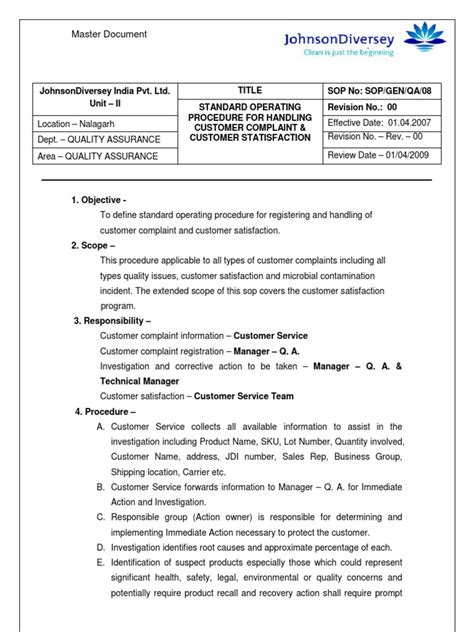 scientific paper template word 2010 sop customer complaint customer