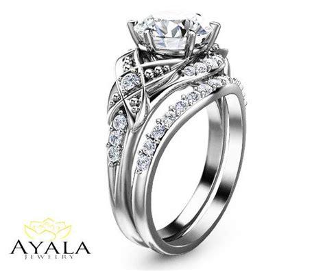 bridal set 14k white gold engagement ring leaf
