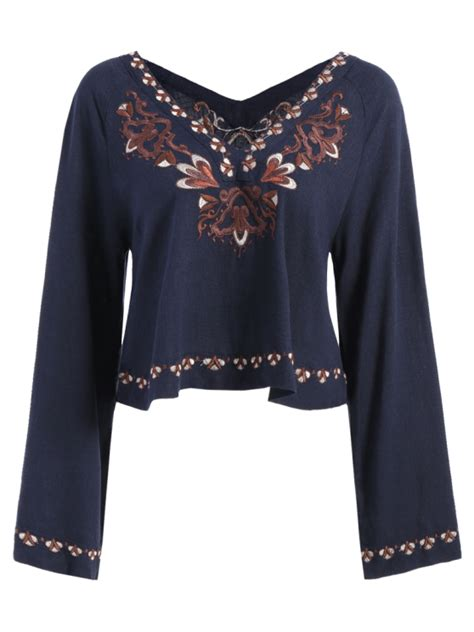 Embroidered V Neck Blouse v neck embroidered blouse purplish blue blouses l