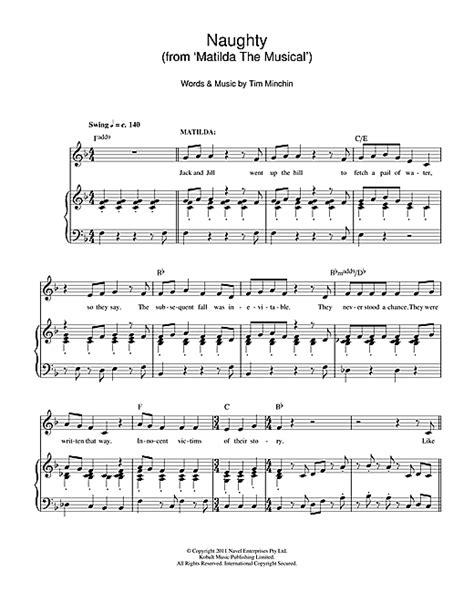 printable lyrics to naughty naughty from matilda the musical sheet music by tim
