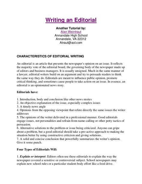 Writing An Editorial Template writing an editorial