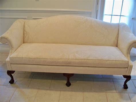 queen anne couch vintage sherrill queen anne loveseat sofa settee shell
