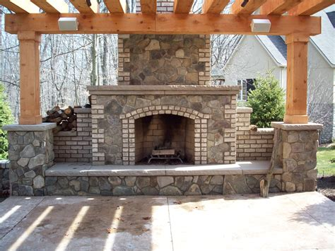 Outdoor Brick Fireplace Ideas by Lawn Garden Modern House Colors With Rock Home Decor