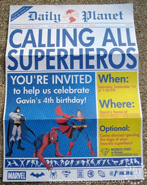 superhero newspaper birthday invitation the scrap shoppe