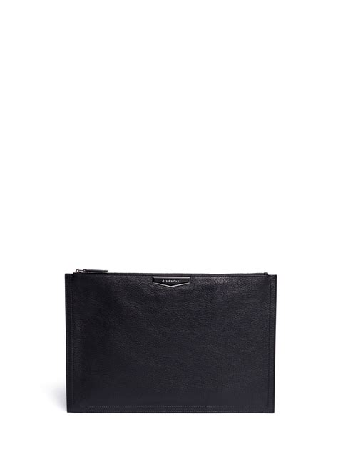 Pouch Givenchy Ori Leather givenchy antigona leather flat zip pouch in black lyst