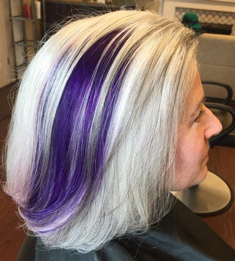 older women with platinum blonde pink hair 14 ash blonde hair with purple balayage for older women