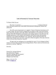 Thank You Letter Teacher After Observation letter of permission for classroom observation
