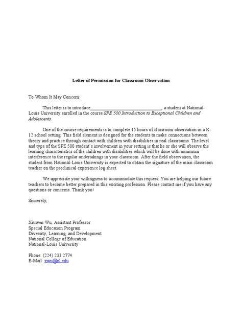 Permission Letter For Karate Classes Letter Of Permission For Classroom Observation