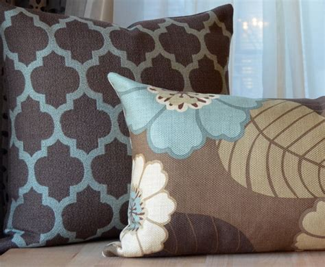 brown sofa with blue pillows brown and blue pillow brown pillow aqua by septemberhome