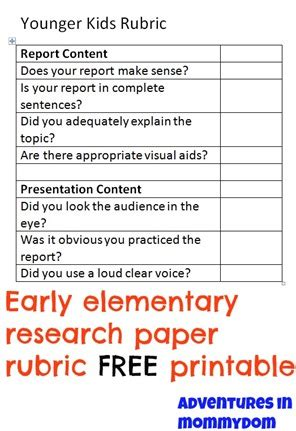 Research Paper Rubric For Elementary Students by How To Write A Research Paper For Elementary School