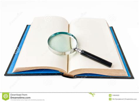Novel Glass book and magnifying glass stock photos image 14964693