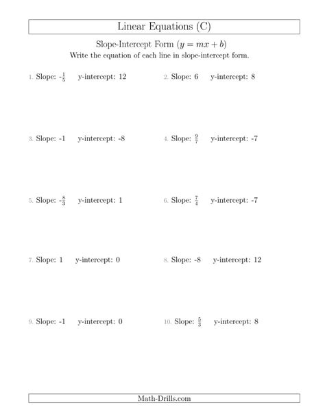 Slope And Y Intercept Worksheet by Writing A Linear Equation From The Slope And Y Intercept C