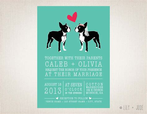 Hochzeitseinladung Hund by Wedding Invitation Boston Diy Digital By Lilyandjude