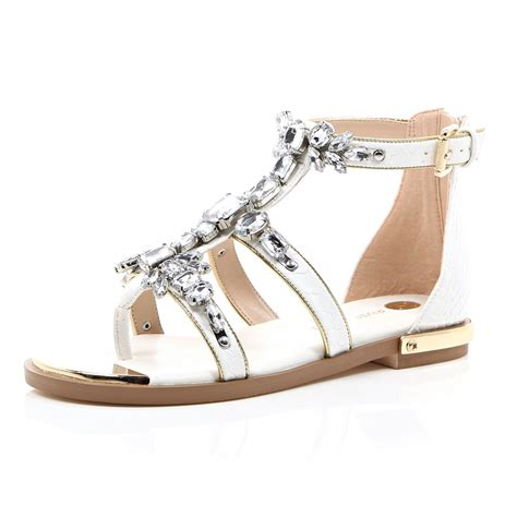 white embellished sandals river island white embellished gem strappy sandals in