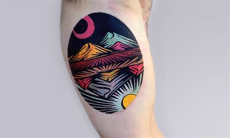 neon tattoos trippy linocut tattoos by dusty past scene360